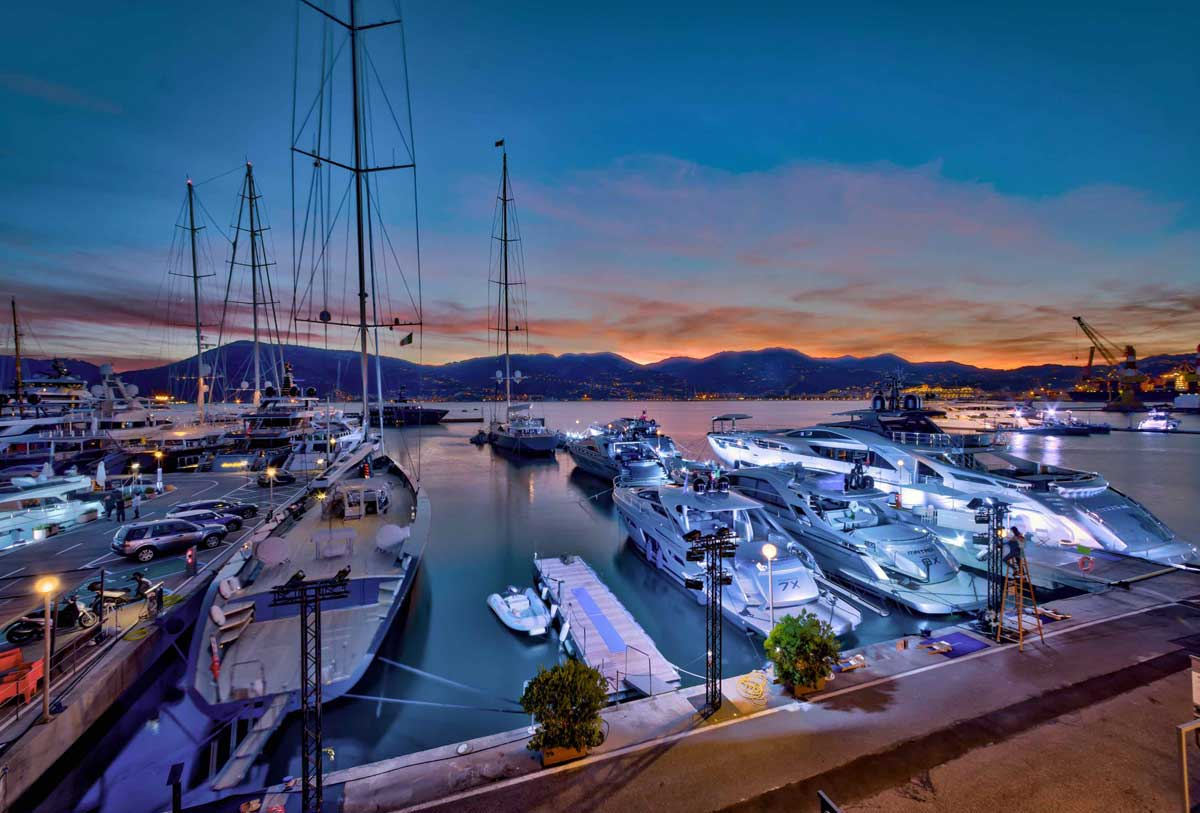 Porto Lotti sunset view for super yachts